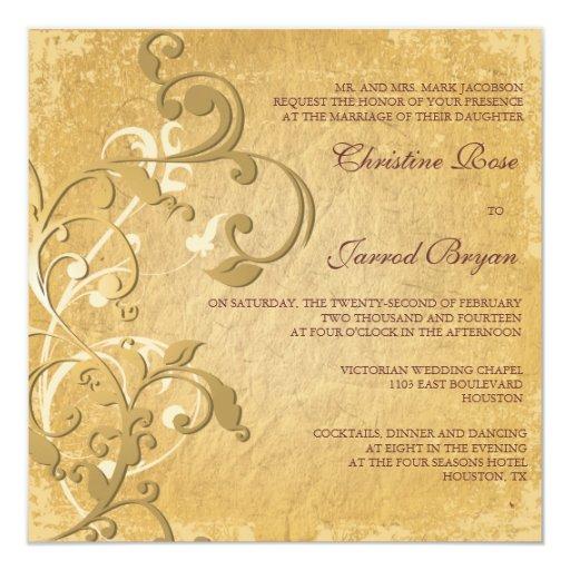 Invitación de oro del boda del vintage