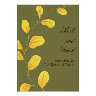 Invitación de oro del eucalipto de las hojas