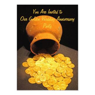 Invitación de oro del fiesta de las monedas