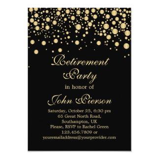 Invitación de oro del fiesta de retiro del confeti