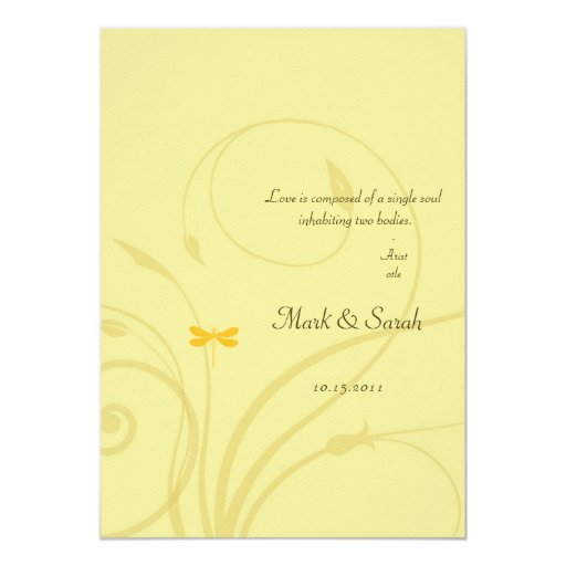 Invitación de oro del Flourish de las libélulas