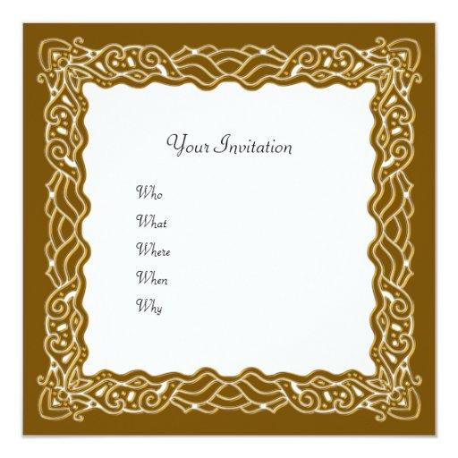 Invitación de oro elegante invitación 13,3 cm x 13,3cm