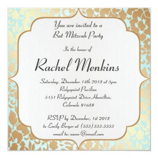 Invitación de oro metálica de Mitzvah del palo de