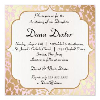 Invitación de oro metálica del bautismo del rosa invitación 13,3 cm x 13,3cm