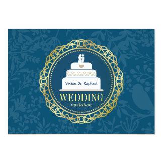 Invitación de oro redonda del boda de la torre del