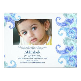 Invitación de Paisley Annaprashan (primer arroz) Invitación 16,5 X 22,2 Cm