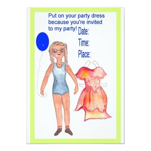 Invitación de papel de la muñeca invitación 12,7 x 17,8 cm