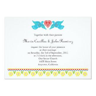 Invitación de Papel Picado de los pájaros del amor Invitación 12,7 X 17,8 Cm