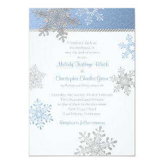 Invitación de plata azul del boda del invierno del