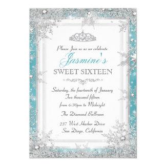Invitación de plata azul del dulce 16 del país de