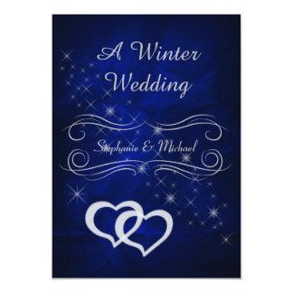 Invitación de plata azul elegante del boda del