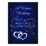 Invitación de plata azul elegante del boda del inv