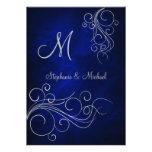 Invitación de plata azul elegante del boda del mon