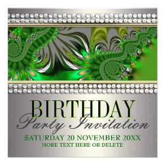 Invitación de plata de la fiesta de cumpleaños del