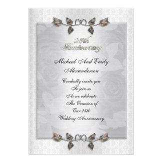 invitación de plata de los rosas del 25to aniversa