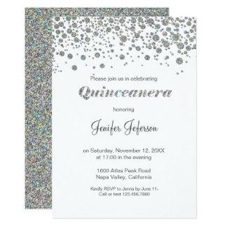 Invitación de plata de Quinceanera del confeti del