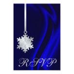 Invitación de plata de seda azul de RSVP del copo Invitación 8,9 X 12,7 Cm