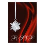 Invitación de plata de seda roja de RSVP del copo Invitación 8,9 X 12,7 Cm