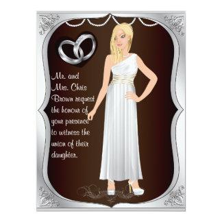 Invitación de plata del boda de Brown del corazón