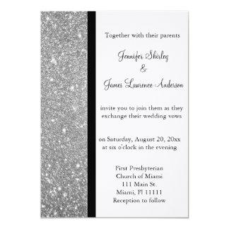 Invitación de plata del boda del brillo