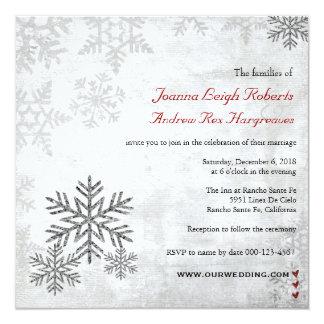 Invitación de plata del boda del invierno de los