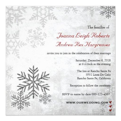 Invitación de plata del boda del invierno de los c