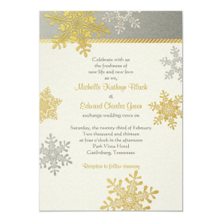 Invitación de plata del boda del invierno del copo