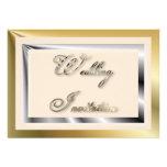 Invitación de plata del boda del oro