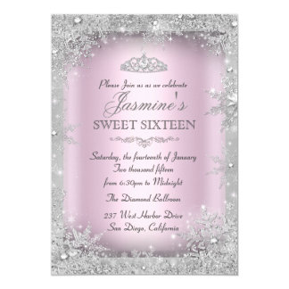 Invitación de plata del dulce 16 del rosa del país
