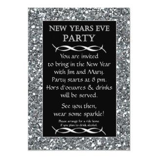 Invitación de plata del fiesta de Noche Vieja de