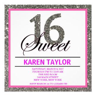 Invitación de plata del personalizado del dulce 16