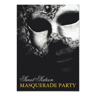 Invitación de plata elegante de la mascarada del