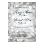 Invitación de plata elegante del boda de Bokeh
