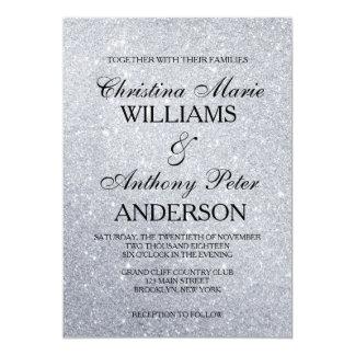 Invitación de plata elegante del boda del brillo