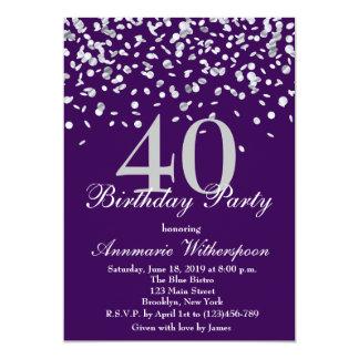 Invitación de plata elegante del cumpleaños del