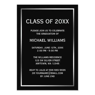 Invitación de plata negra de la graduación de la invitación 12,7 x 17,8 cm