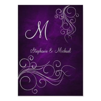 Invitación de plata púrpura elegante del boda del