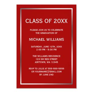 Invitación de plata roja de la graduación de la