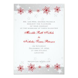 Invitación de plata roja del boda del copo de