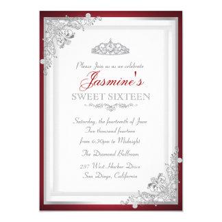 Invitación de plata roja del damasco y del dulce
