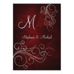 Invitación de plata roja elegante del boda del