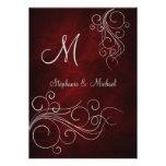 Invitación de plata roja elegante del boda del mon