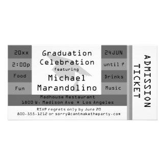 Invitación de plata única del fiesta del boleto de tarjetas fotográficas personalizadas