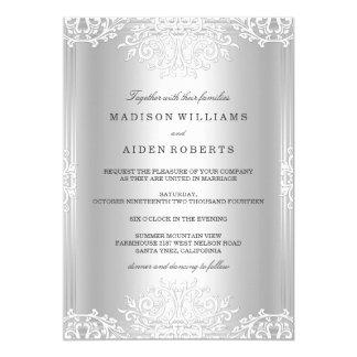 Invitación de plata y blanca del boda del encanto