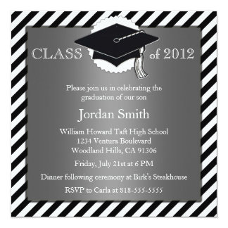 Invitación de plata y negra de la graduación