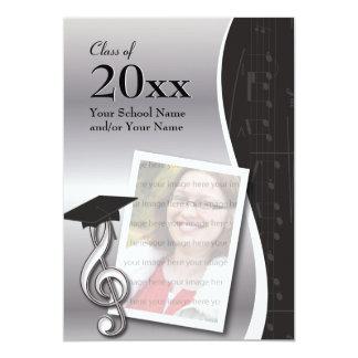 Invitación de plata y negra de la graduación de la invitación 12,7 x 17,8 cm