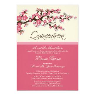 Invitación de Quinceanera de la flor de cerezo ro