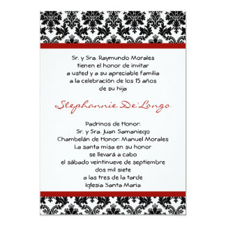 invitación de Quinceanera del damasco del rojo
