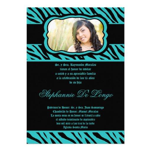 invitación de Quinceanera del estampado de zebra d