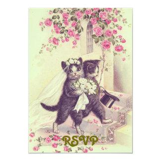 Invitación de RSVP de los gatos del boda